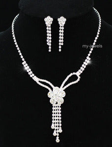 Wedding Flowers Crystal Necklace Earrings Set S1165