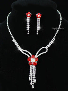 Bridal Red Flowers Crystal Necklace Earrings Set XS1167