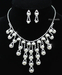 Bridal Queen White Faux Pearl Necklace Earrings Set XS1171