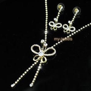 Wedding Butterfly Crystal Gold Necklace Earrings Set S1175