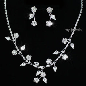 Wedding Crystal Flowers Necklace Earrings Set S1179