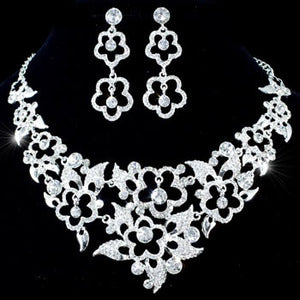 Vintage Style Queen Crystal Necklace Earrings Set S1182