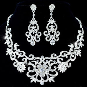 Vintage Style Queen Crystal Necklace Earrings Set S1183