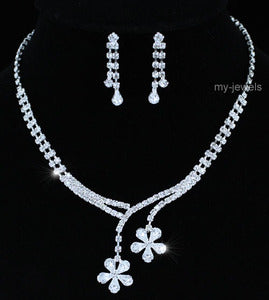 Wedding Flower Crystal Necklace Earrings Set S1186