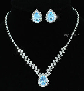 Bridal 5 Carat Blue Crystal Necklace Earrings Set XS1187