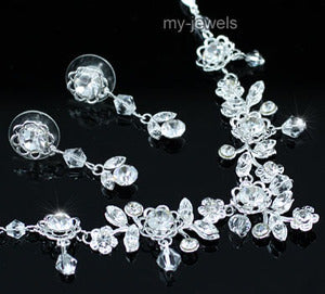 Bridal Wedding Flower Crystal Beads Necklace Earrings Set XS1188