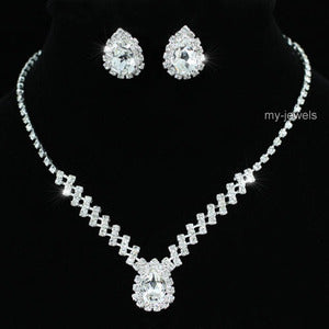 Bridal 5 Carat Crystal Necklace Earrings Set XS1193