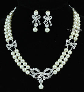 Bridal Ribbon Ivory Faux Pearl Necklace Set XS1195