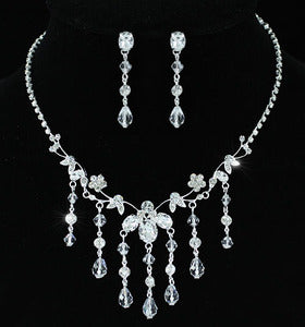 Bridal Handmade Crystal Necklace Earrings Set XS1197