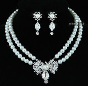 Bridal Flower White Faux Pearl Crystal Necklace Earrings Set XS1200