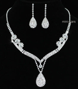Bridal Wedding Party Crystal Necklace Earrings Set XS1201