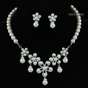 Bridal Wedding Flower Cream Ivory Faux Pearl Necklace Set XS1207