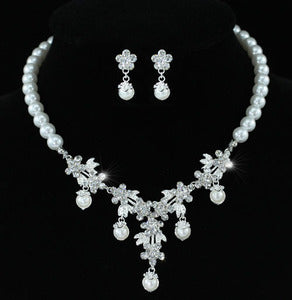 Bridal Flower White Faux Pearl Crystal Necklace Set XS1215