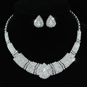 Bridal Vintage Style Crystal Necklace Earrings Set XS1216