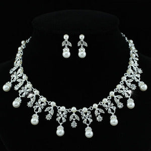 Bridal Faux Pearl Flower Necklace Earrings Set XS1217