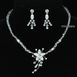 Bridal Wedding Handmade Crystal Necklace Earrings Set XS1221