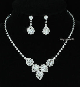 Bridal Wedding Sparkling Crystal Necklace Earrings Set XS1222