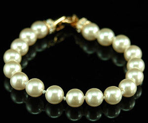 Bridal Cream Shell Pearl Bracelet use Austrian Crystal XSB020