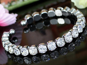 Sparkling Clear Crystal Cuff Bangle XB033