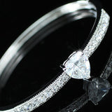 4 Carat Heart Created Diamind Wedding Bridesmaid Bangle XB041