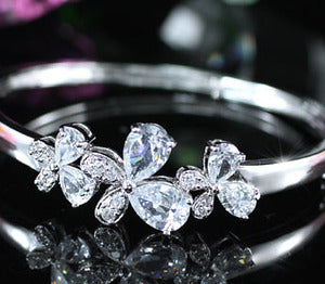 7 Carat CZ Created Cubic Zirconia Butterfly Bangle XSB060