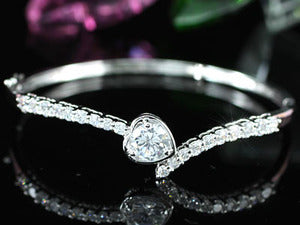 4 Carat Created CZ Heart Wedding Bangle XSB062