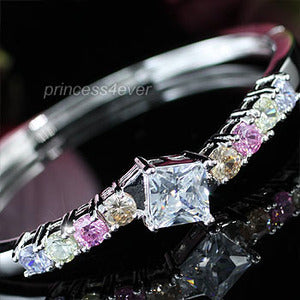 4 Carats Created Multi-Color Topaz Diamond Bangle XSB078