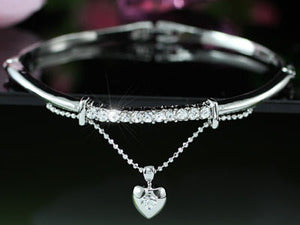 Dangle Heart Bangle use Austrian Crystal XSB094
