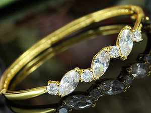 5 Carat CZ Created Diamond Gold Plated Bangle XSB114