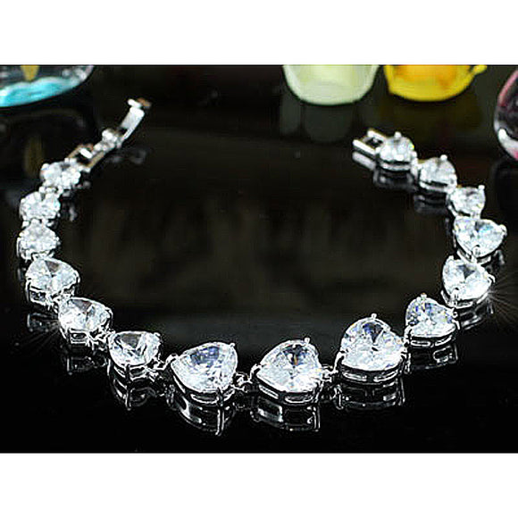 11 Carat Heart Cut CZ Created Diamond Bracelet XSB116