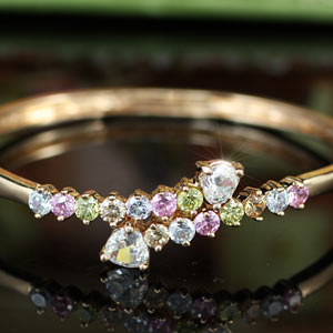 4 Carat Multi-Colour CZ Created Diamond Rose Gold Plated Bangle XSB124
