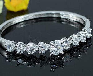 8.5 Carat Round and Heart Cut CZ Created Diamond Bangle XSB135