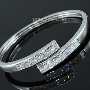6 Carat CZ Created Diamond Silver Tone Bangle XSB137