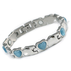 Women Stainless Steel Magnetic Health Blue Heart Cat Eye Stone Bracelet XSB152