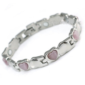 Women Stainless Steel Magnetic Health Pink Heart Cat Eye Stone Bracelet XSB153