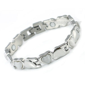 Women Stainless Steel Magnetic Health White Heart Cat Eye Stone Bracelet XSB154