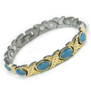 Women Stainless Steel Magnetic Health Blue Cat Eye Stone Bracelet XSB155