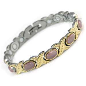 Women Stainless Steel Magnetic Health Pink Cat Eye Stone Bracelet XSB156