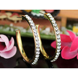 "1.5"" Gold Hoop Earrings use Clear Austrian Crystal XE006"