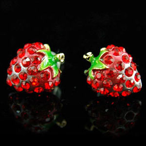 Red Strawberry Stud Earrings use Swarovski Crystal XE013