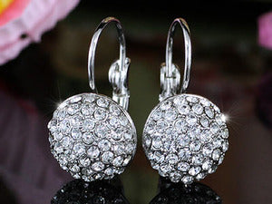 White Gold Plated Earrings use Swarovski Crystal XE108