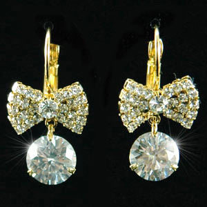 Bow Gold Plate Earrings use Austrian Crystal XE118