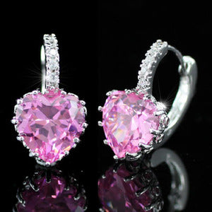 3 Carat Pink Heart Created Sapphire Huggie Earrings XE235