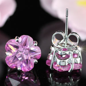 3 Carat Flower Pink Created Sapphire Stud Earrings XE239