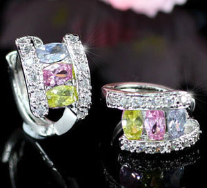 3 Carat Multi-colour Created Topaz Huggie Earrings XE256