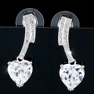 4 Carat Dangle Heart Cubic Zirconia Created CZ Earrings XE260