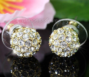 Ball Stud Gold Plated Earrings use Austrian Crystal XE268
