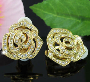 Rose Clip On Gold Plated Earrings use Swarovski Crystal XE277
