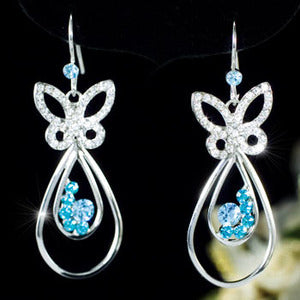 Blue Butterfly Earrings use Austrian Crystals XE307