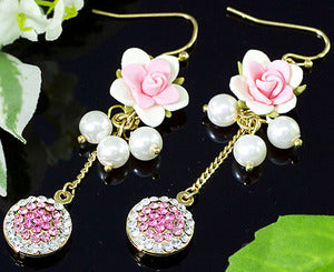 Pink Dangle Flower Earrings use Swarovski Crystals XE309